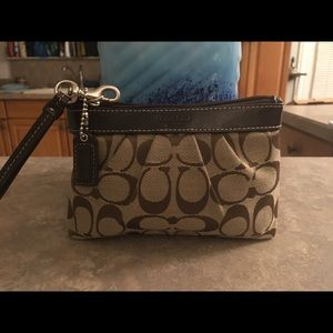 Coach Brown & Tan Canvas & Leather Wristlet